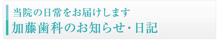 加藤歯科のお知らせ・日記